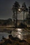 Barrage de poliana de Shiroka avec le brouillard mystique Photographie stock libre de droits