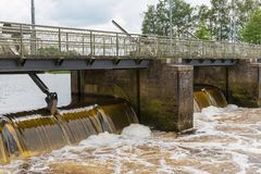 Barrage in Dutch river Vecht Stock Images