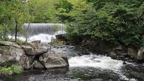 Barrage et rapide de moulin sur la rivière de Yamaska dans Granby, Québec clips vidéos