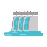 Barrage hydro-électrique de l'eau d'usine de station illustration de vecteur
