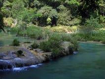 Barrage naturel de chaux à la piscine de turquoise de Semuc Champey Photographie stock