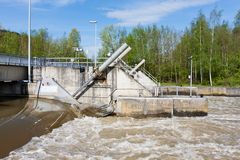 Barrage in river Meuse Stock Image