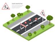 Barrage routier en construction Panneau routier, triangle Image libre de droits