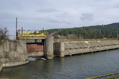 Barrage and sluice of picturesque  dam, gather water of Iskar river Royalty Free Stock Photography