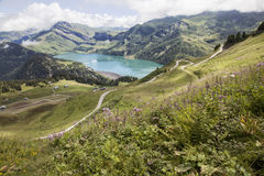 Barrage and storage reservoir of lac de roselend in france Royalty Free Stock Photography