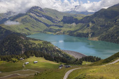 Barrage and storage reservoir of lac de roselend in france Stock Photography