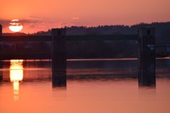 Barrage in the Sunset. Little Barrage in the Sunset stock photography