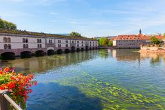 Barrage Vauban at the river Ill in Strasbourg, France. Picture of the Barrage Vauban at the river Ill in Strasbourg, France stock photos