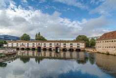 Barrage Vauban, Strasbourg. The Barrage Vauban, or Vauban Dam, is a bridge, weir and defensive work erected in the 17th century on the River Ill in the city of stock images