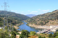 Barragem do Carrapatelo in river Douro, Portugal Stock Photos