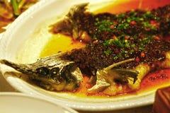 Barrakuda pike fish on plate with sauce Stock Image