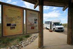 Barramento de excursão da Escrita-Em-Pedra imagem de stock