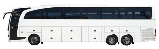 Barramento de excursão luxuoso moderno do ônibus de motor, branco isolado foto de stock royalty free