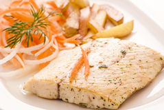 Barramundi Filet with Chips Stock Images
