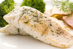 Barramundi Filet with Chips Royalty Free Stock Photos