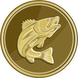 Barramundi Gold Coin Retro Royalty Free Stock Photography