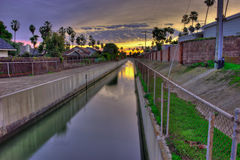 The barranca collects and controls runoff. Captured rain water can be sanitized and reused Stock Photo