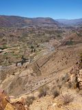Barranca de las terrazas de la agricultura de Colca Foto de archivo