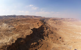 Barranca en el desierto de Judea, Israel Foto de archivo