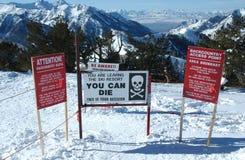 Barrancas, Park City, señales de peligro de Utah imagenes de archivo