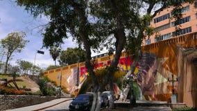 Barranco染黄隧道和桥梁有壁画的,利马 库存照片