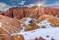 Barranco del cuento de hadas, Kirguistán Foto de archivo libre de regalías