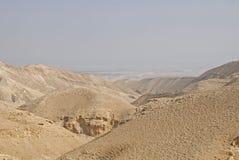 Barranco del desierto de Wadi Kelt en Israel Foto de archivo