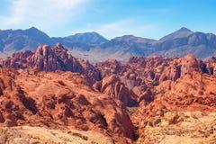 Barranco del fuego en el valle del parque de estado del fuego, Nevada, Estados Unidos imagen de archivo