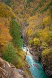 Barranco del río de la montaña en temporada de otoño Imagen de archivo