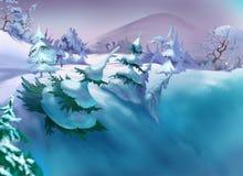 Barranco grande con nieve y piceas en Frosty Winter Day Fotografía de archivo