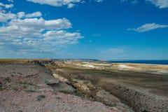 Barranco hermoso en la meseta аnd de Ustyurt el mar de Aral uzbekistan Imágenes de archivo libres de regalías