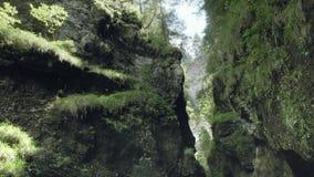 Barranco místico rocoso en montañas almacen de video