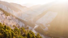 Barranco Rheinschlucht Suiza 4k aéreo del valle de la mañana almacen de video