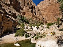 Barranco Shab, sultanato de Oman Fotografia de Stock Royalty Free