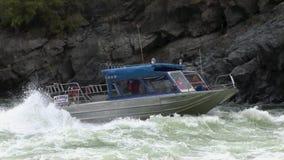 Barranco Upriver Idaho de los infiernos del río Snake del barco del jet almacen de metraje de vídeo