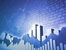 Barras & cartas do mercado de valores de acção do baixo ângulo Ilustração Royalty Free