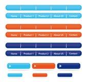 Barras & teclas de navegação do Web site Fotos de Stock