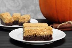 Barras da brownie do bolo de queijo da abóbora Foto de Stock Royalty Free
