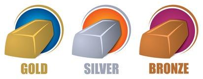 Barras de bronce de plata del oro stock de ilustración