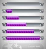 Barras de cargamento púrpuras con las rayas Foto de archivo libre de regalías