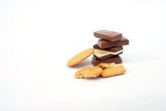 Barras de chocolate e bisquits fotos de stock