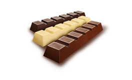 Barras de chocolate en el fondo blanco Fotografía de archivo libre de regalías