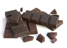 Barras de chocolate isoladas Fotografia de Stock