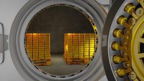 Barras de la caja fuerte y de oro del banco ilustración del vector