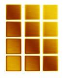 Barras de los pulsadores del metal del oro de la colección del oro Foto de archivo
