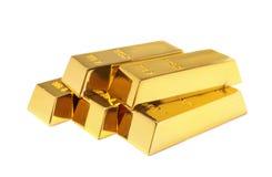 Barras de oro brillantes preciosas en blanco fotografía de archivo