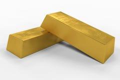 Barras de oro con la trayectoria de recortes Imágenes de archivo libres de regalías