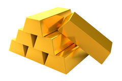 Barras de oro 3d en el fondo blanco Fotos de archivo libres de regalías