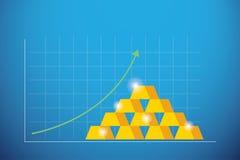 Barras de oro del gráfico de negocio con la flecha verde para arriba, concepto del negocio ilustración del vector