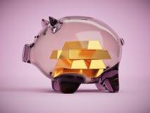 Barras de oro dentro del ejemplo de cristal del concepto 3d de los ahorros del coinbank Fotografía de archivo